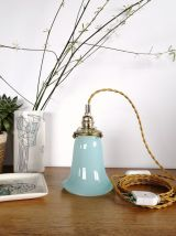 "Lampe Baladeuse vintage suspension en opaline ""Bleu Clair"""