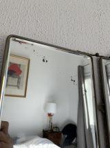 Miroir vintage 1930 triptyque barbier cristal marine - 27 x