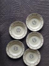 5 assiettes creuses anciennes Longwy vintage art déco