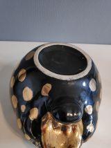 cache pot panthère en céramique noir et or