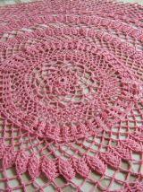 Napperon rond Rose crochet fait main Vintage 60'S