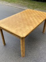 Table en rotin vintage 60's