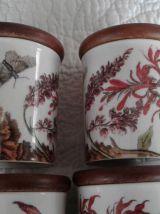 Pots à épices couvercle bois vernis en porcelaine anglaise