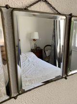 Miroir vintage 1930 triptyque Art Déco cristal - 28 x 69 cm