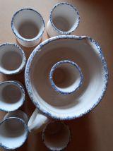 Service orangeade carafe broc 6 gobelets ceramique vintage