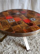 Table basse ronde métal et céramique « Vallauris » – années