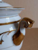 Ancien sucrier XIXè en porcelaine blanche motifs dorés or fi
