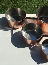 Casseroles en cuivre martelé