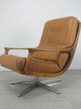 Fauteuil cuir scandinave design années 70 vintage