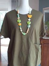 Collier long bohème vert et orange