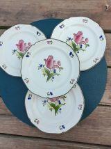 4 assiettes dessert floral, modèle Lorraine, porcelaine Gien