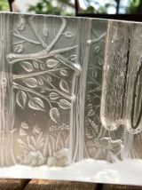 Soliflore Bloc de verre à décor de foret