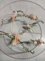 Lampe cage d'oiseau argentée et  rose