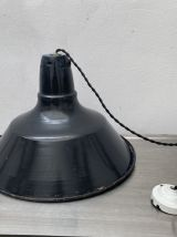 LAMPE INDUSTRIELLE ANCIENNE SUSPENSION EMAILLEE 40 CM