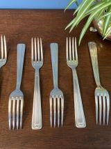 Set de 6 grandes fourchettes en métal argenté 1950