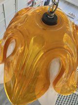 Suspension plexi vintage fleur orange et blanche