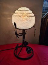 lampe fer forgé 1930 art deco  globe bleu moulé clichy et se