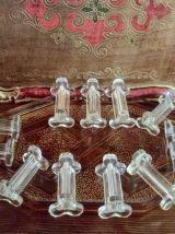 lot de 12 porte-couteaux anciens en verre  moulé 1950