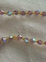 Collier perles de verre à facettes rouge