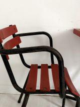 Ensemble Bistrot métallique table et 2 fauteuils vintage 60