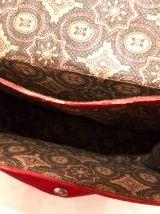Sac en bandoulière en cuir rouge & laine kilim