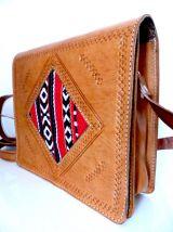 Sacs en bandoulière en cuir camel & Kilim - Besace neuve