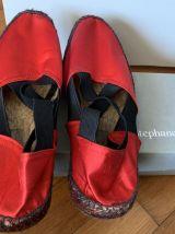 Chaussures toile satinée rouge esprit espadrilles – vintage
