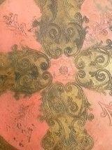 plateau  florentin  en bois peint , vintage