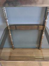 table d'appoint métal et verre fumé