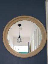 Miroir rond mural couleur crème