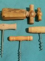 lot de 4 tire bouchons en bois
