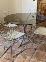 Table Boris TABACOFF pour CHRISTOFLE. 1970. Acier et verre f