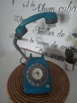 LAMPE À POSER RECYCLAGE TÉLÉPHONE VINTAGE BLEU