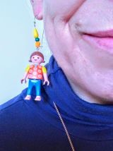 Boucles d'oreilles Playmobil/argenté/orange/jaune/bleu
