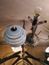 Lampe  laiton 1930 art deco globe bleu moulé clichy . 33x15.