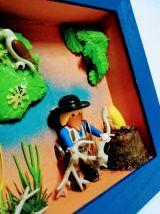 Cadre Playmobil western, personnalisable, cowboy
