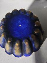 pot de fleur porta crayon bleu fleur