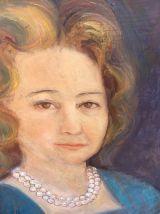 Peinture sur panneau, portrait Mme Pilar.