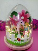 Lampe Playmobil veilleuse rose, licorne et fillette
