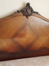 lit ancien  bois placage acajou