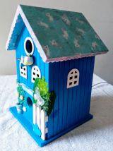 Lampe nichoir bleu, lampe de chevet oiseau bleu