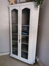 Vaisselier d'angle en bois peint en blanc avec 5 étagères