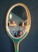 "Miroir mural ovale bois raquette tennis ""Miss Go"""
