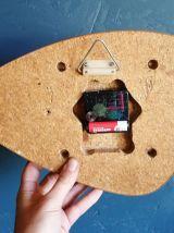 """Horloge vintage pendule murale silencieuse """"Végétal Jaune"""""""