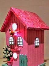 Lampe nichoir rose, lampe de chevet oiseau rose