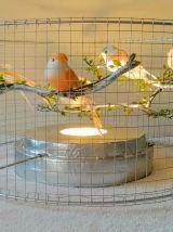 Lampe volière argentée et rose, cage d'oiseaux