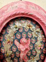 Cadre vintage, cadre baroque rose, ange, fleurs