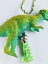 Collier dinosaure vert, Vélociraptor, fille, garçon