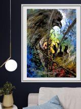 Tableau peinture acrylique papier constellation