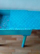 Table basse coulissante, rangement, bleu turquoise